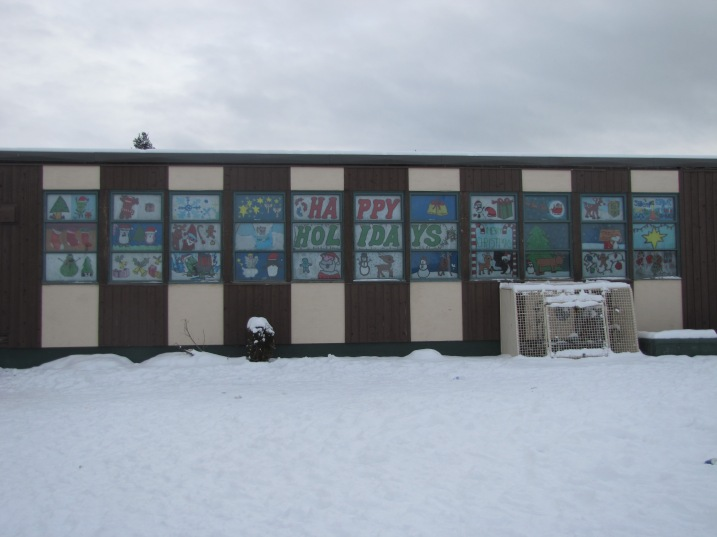 At 100 Mile Jr. Secondary, students from teacher Donna Wilde's art class gave the windows a festive touch!