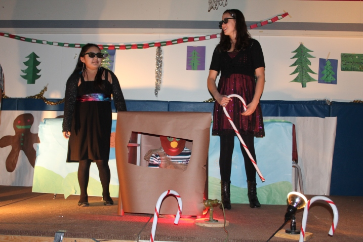 Alexis Creek School's gingerbread man oven in their recent Christmas performance