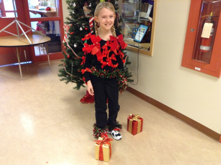 This Chilcotin Road Elementary student stood a little too close to the Christmas tree during decorating.