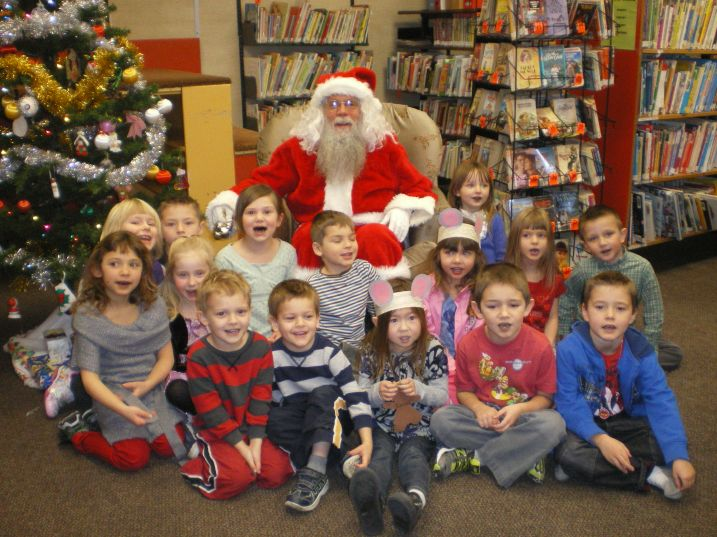 Teacher Marie Matwick's K-1 class at Horse Lake Elementary have a visit with Santa.