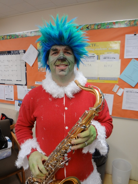Principal Steve Carpenter as The Grinch for the Lac La Hache Elementary Christmas Concert