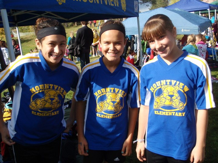 Three members of Mountview Elementary's cross-country running team