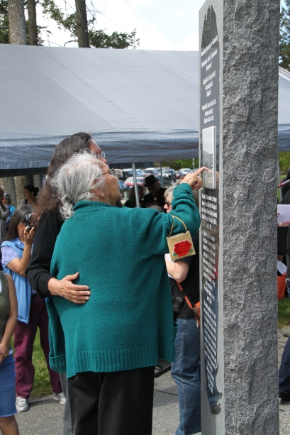 Residential school survivors check out the new monument in Boitanio Park in Williams Lake.