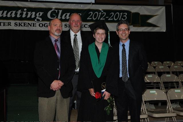 PSO Secondary Vice Principal Geoff Butcher, Principal Vic Brett and I pose with Governor General's Award Winner Jillian Matlock (photo courtesy Monika Paterson, 100 Mile Free Press).