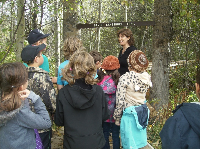 Horsefly students get set to walk the new Gavin Lakeshore Trail with Jenny Howell.