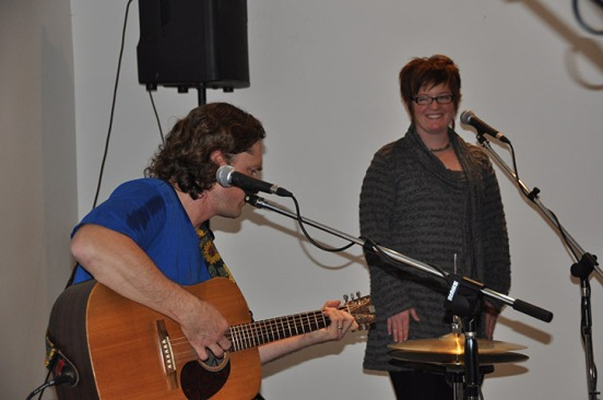 LCSS teachers Brent Morton and Dena Baumann perform at the recent Poverty Challenge Variety Show & Silent Auction