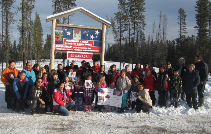Students and staff from Anahim Lake School and Nagwuntl'oo School join forces at Carey Price's billboard to cheer on their hero in Anahim Lake.
