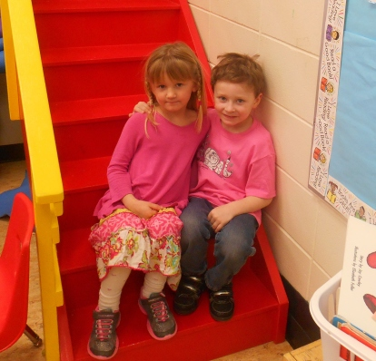 Two Kindergarten students from Mile 108 Elementary