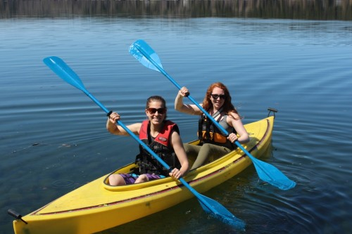 Heather Klassen & Megan Mattock go kayaking on Horsefly Lake