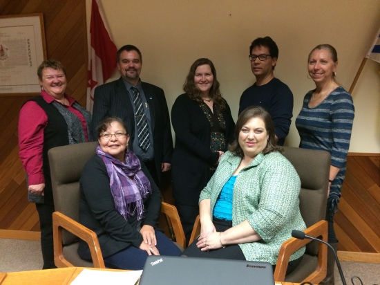 The new Board of Education for School District No. 27 (Cariboo-Chilcotin) was sworn in at the public Board meeting on December 9th.  Trustees include (back row L-R) Linda Nielsen, Brice O'Neill, Sheila Boehm, Chris Pettman, Christine Dyment, (front row L-R) Joyce Cooper and Tanya Guenther.