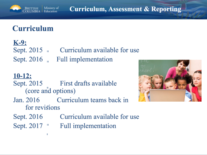 BC's Ministry of Education Curriculum Timelines
