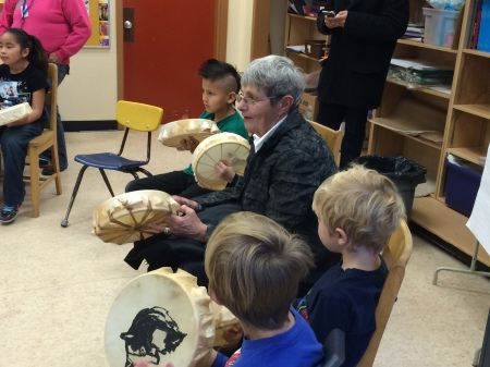 Cariboo-Chilcotin MLA Donna Barnett joined in the drumming action in Teacher Lorene Fennell's class.