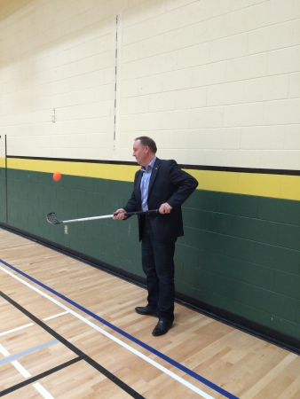 The Minister even had a chance to show off his ball hockey skills during a quick impromptu visit to PSO teacher Sean Glanville's PE class in the newly renovated gymnasium.