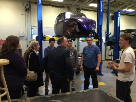 PSO Secondary teacher Chris Leflufy and five of his auto mechanics students shared their recent projects with the Minister. This was also a chance to tour the Minster through our new auto shop at PSO.