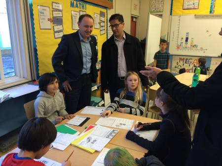 Teacher Lacey Venner's Grade 4/5 French Immersion students from 100 Mile Elementary were working in their guided math groups as Trustee Chris Pettman joined the Minister for the 1oo Mile portion of the tour.