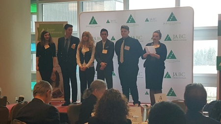 LCSS students Chloe Storoschuk, Taylor Nolin, Carrie Rojas, Ty Feldinger, Nathan Snowball and Emerson Wiebe present at the 2016 Junior Achievement BC Innovation Jam recently in Vancouver.
