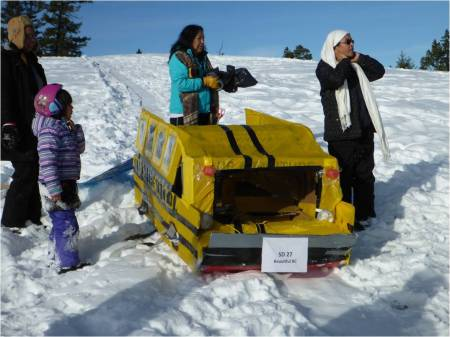 Much of the community joined Dog Creek school at their sledding day this winter.