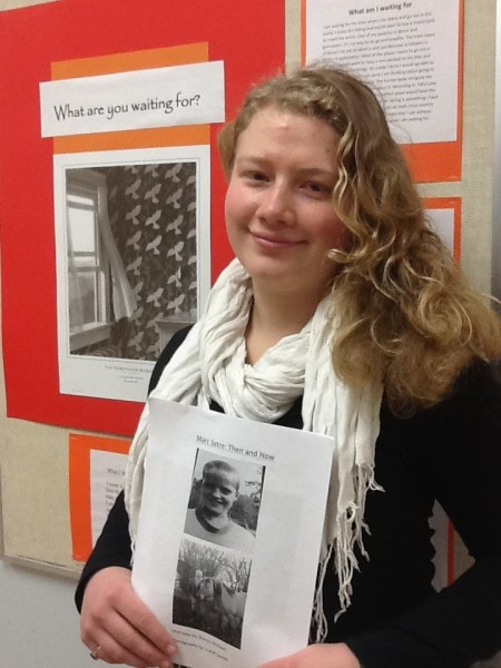"Tatla Lake student Ronya Wittwer holds up the latest edition of ""Hoofprints in History"""